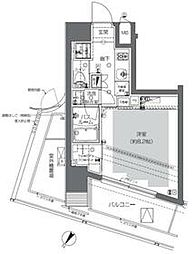 東京メトロ千代田線 代々木公園駅 徒歩8分の賃貸マンション 8階1Kの間取り