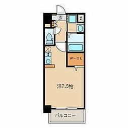 名鉄名古屋本線 山王駅 徒歩9分の賃貸マンション 3階ワンルームの間取り