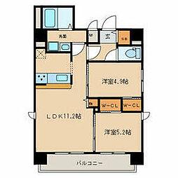 名鉄名古屋本線 山王駅 徒歩9分の賃貸マンション 6階2LDKの間取り