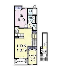 JR東海道本線 二川駅 バス3分 住宅前下車 徒歩5分の賃貸アパート 2階2LDKの間取り