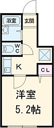 小田急小田原線 町田駅 徒歩13分の賃貸アパート 1階ワンルームの間取り