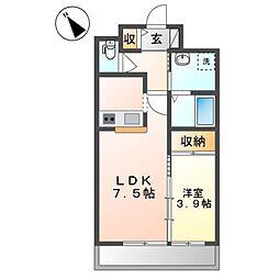 おおさか東線 南吹田駅 徒歩8分の賃貸マンション 3階1LDKの間取り