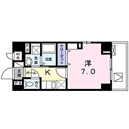 東京メトロ丸ノ内線 四谷三丁目駅 徒歩6分の賃貸マンション 5階1Kの間取り