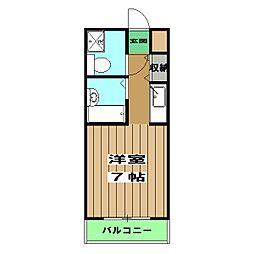第3藤岡マンション 2階1Kの間取り