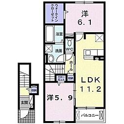 エアリーサウス 2階2LDKの間取り