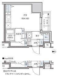 名古屋市営東山線 新栄町駅 徒歩8分の賃貸マンション 12階ワンルームの間取り