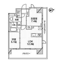 都営浅草線 高輪台駅 徒歩5分の賃貸マンション 8階1LDKの間取り