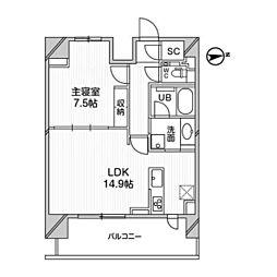 都営浅草線 高輪台駅 徒歩5分の賃貸マンション 10階1LDKの間取り