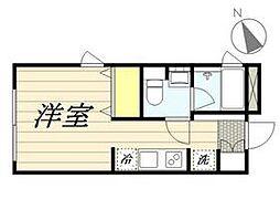 東京メトロ丸ノ内線 新宿三丁目駅 徒歩8分の賃貸マンション 2階ワンルームの間取り