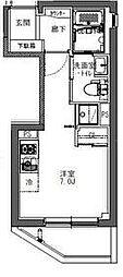 東京メトロ東西線 神楽坂駅 徒歩6分の賃貸マンション 2階ワンルームの間取り