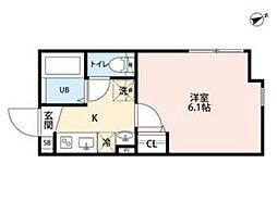 JR常磐線 北千住駅 徒歩12分の賃貸マンション 3階1Kの間取り