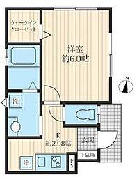 東京メトロ日比谷線 北千住駅 徒歩17分の賃貸アパート 1階1Kの間取り