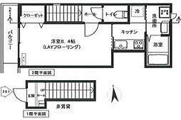 東急世田谷線 上町駅 徒歩6分の賃貸アパート 2階1Kの間取り