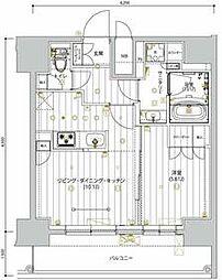 京急本線 新馬場駅 徒歩5分の賃貸マンション 11階1LDKの間取り