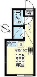 JR鶴見線 安善駅 徒歩1分の賃貸アパート 2階ワンルームの間取り