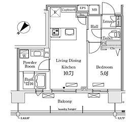 東京メトロ有楽町線 豊洲駅 徒歩12分の賃貸マンション 6階1LDKの間取り