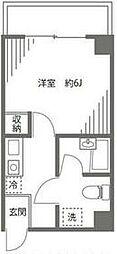 JR山手線 池袋駅 徒歩9分の賃貸マンション 2階1Kの間取り