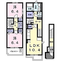 JR高崎線 本庄駅 徒歩14分の賃貸アパート 2階2LDKの間取り