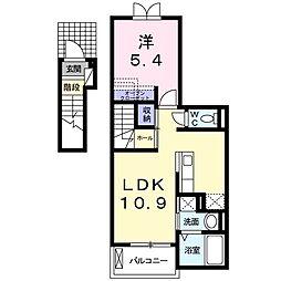 JR上越線 沼田駅 徒歩23分の賃貸アパート 2階1LDKの間取り