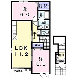 JR上越線 八木原駅 徒歩34分の賃貸アパート 2階2LDKの間取り