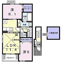 JR高崎線 神保原駅 徒歩22分の賃貸アパート 2階2LDKの間取り