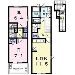 JR湖西線 安曇川駅 徒歩6分の賃貸アパート 2階2LDKの間取り