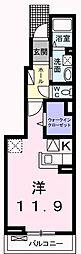 JR青梅線 福生駅 徒歩7分の賃貸アパート 1階1Kの間取り