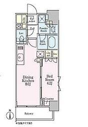 東京メトロ南北線 白金高輪駅 徒歩5分の賃貸マンション 2階1DKの間取り
