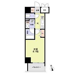 名古屋市営桜通線 丸の内駅 徒歩8分の賃貸マンション 11階1Kの間取り