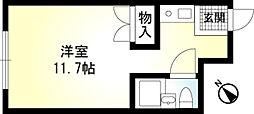 小田急小田原線 玉川学園前駅 徒歩10分の賃貸アパート 1階ワンルームの間取り