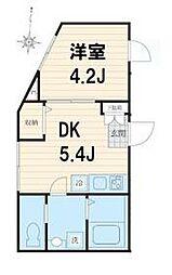 JR総武線 亀戸駅 徒歩4分の賃貸マンション 2階1DKの間取り