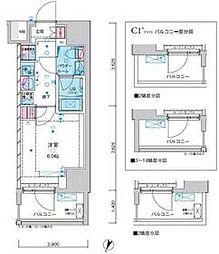 東京メトロ千代田線 綾瀬駅 徒歩12分の賃貸マンション 9階1Kの間取り
