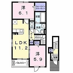 JR両毛線 前橋大島駅 4.2kmの賃貸アパート 2階2LDKの間取り
