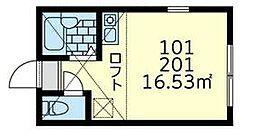 相鉄本線 西横浜駅 徒歩8分の賃貸アパート 2階ワンルームの間取り