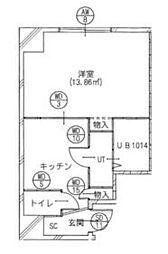 東京メトロ日比谷線 南千住駅 徒歩5分の賃貸マンション 6階1DKの間取り
