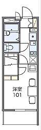 東武伊勢崎線 太田駅 徒歩17分の賃貸マンション 3階1Kの間取り