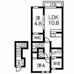 JR青梅線 河辺駅 徒歩12分の賃貸アパート 2階2LDKの間取り