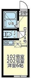 京急本線 追浜駅 徒歩8分の賃貸アパート 2階ワンルームの間取り