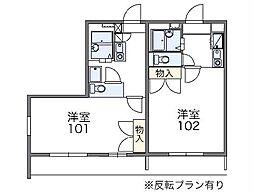 JR東海道本線 大垣駅 バス5分 中川下車 徒歩5分の賃貸アパート 2階1Kの間取り