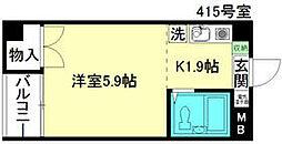 西武国分寺線 鷹の台駅 徒歩19分の賃貸マンション 4階1Kの間取り