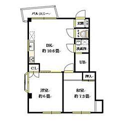 東武東上線 朝霞駅 徒歩6分の賃貸マンション 2階2LDKの間取り