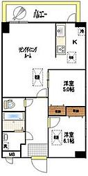 東武伊勢崎線 東向島駅 徒歩7分の賃貸マンション 4階2LDKの間取り