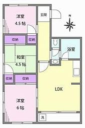 JR山手線 目白駅 徒歩9分の賃貸マンション 4階3LDKの間取り