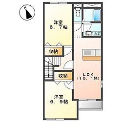 JR常磐線 大津港駅 徒歩29分の賃貸アパート 2階2LDKの間取り