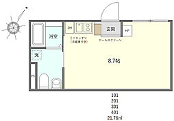 JR山手線 日暮里駅 徒歩10分の賃貸マンション 4階ワンルームの間取り