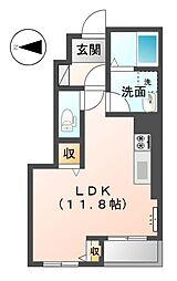 JR高徳線 屋島駅 徒歩13分の賃貸アパート 1階ワンルームの間取り