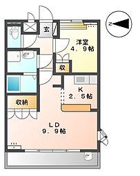 JR両毛線 小俣駅 徒歩16分の賃貸アパート 2階1LDKの間取り