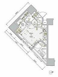 JR京浜東北・根岸線 大森駅 徒歩11分の賃貸マンション 11階ワンルームの間取り