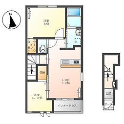 JR高崎線 籠原駅 徒歩10分の賃貸アパート 2階2LDKの間取り