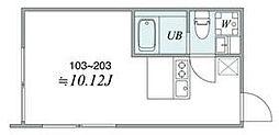 西武池袋線 椎名町駅 徒歩6分の賃貸マンション 2階1DKの間取り